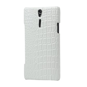 Crocodile Leather Coated Hard Case for Sony Xperia S LT26i LT26a / Nozomi - White