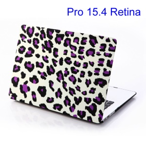 Purple Leopard White Background Protective Case for MacBook Pro 15.4 w/ Retina Display (A1398)