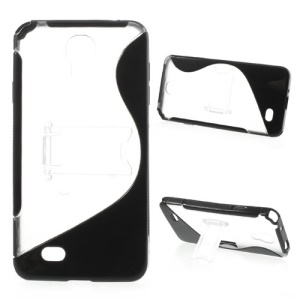 Black S Shaped TPU + PC Hybrid Case with Stand for Samsung Galaxy J N075T