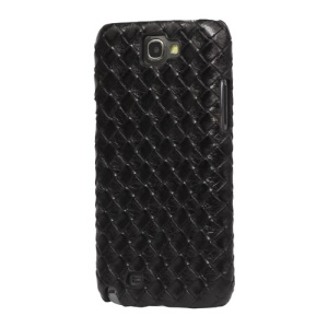 Woven Pattern Hard Cover Case for Samsung Galaxy Note II N7100 - Black