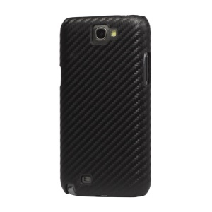 Carbon Fiber Leather Hard Case for Samsung Galaxy Note 2 / II N7100 - Black