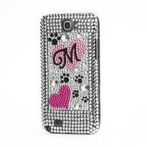Love Pattern Diamante Crystal Cover for Samsung Galaxy Note 2 / II N7100
