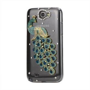 Graceful Peacock Diamond Crystal Case Cover for Samsung Galaxy Note 2 / II N7100 - Blue