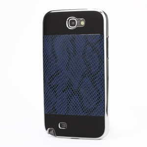 Snake Leather Coated Electroplating Hard Case for Samsung Galaxy Note II N7100 - Black / Dark Blue