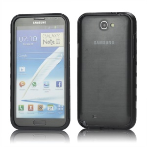 Sliding Hybrid Aluminum Bumper Frame Case for Samsung Galaxy Note II N7100 - Black