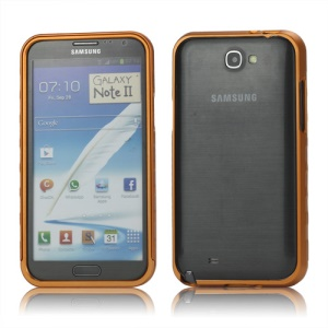 Sliding Hybrid Aluminum Bumper Frame Case for Samsung Galaxy Note II N7100 - Orange