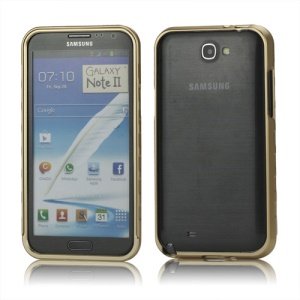 Sliding Hybrid Aluminum Bumper Frame Case for Samsung Galaxy Note II N7100 - Gold