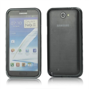 Sliding Hybrid Aluminum Bumper Frame Case for Samsung Galaxy Note II N7100 - Grey