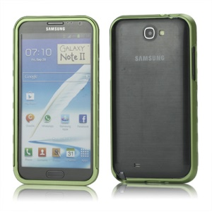 Sliding Hybrid Aluminum Bumper Frame Case for Samsung Galaxy Note II N7100 - Green
