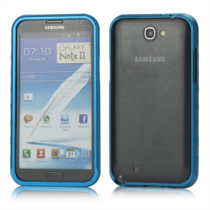 Sliding Hybrid Aluminum Bumper Frame Case for Samsung Galaxy Note II N7100 - Light Blue