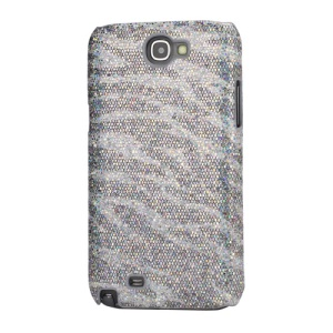 Bling Flashing Sequins Zebra Stripe Hard Case for Samsung Galaxy Note 2 / II N7100 - Silver