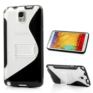 Black S Curve TPU & Plastic Stand Case for Samsung Galaxy Note 3 N9000