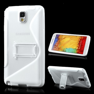 White S Curve TPU & Plastic Stand Case for Samsung Galaxy Note 3 N9000
