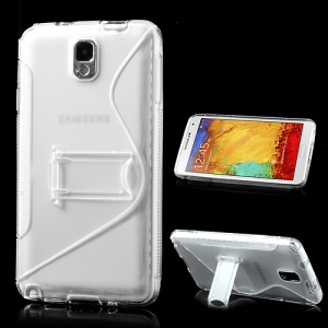Transparent S Curve TPU & Plastic Stand Case for Samsung Galaxy Note 3 N9000