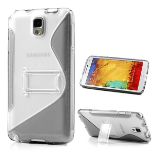 Grey for Samsung Galaxy Note 3 N9000 S Curve TPU & PC Stand Case