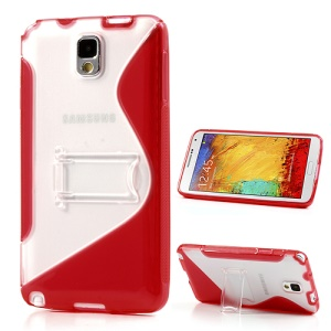 Red for Samsung Galaxy Note 3 N9000 S Curve TPU & PC Stand Cover