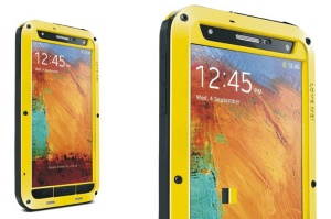 LOVE MEI Metal + Silicone + Gorilla Glass Defender Phone Case for Samsung Galaxy Note 3 N9000 - Yellow
