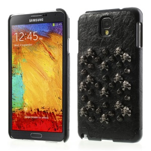 Metallic Skull Head & Circular Cone Leather Skin Hard Case for Samsung Galaxy Note 3 N9000