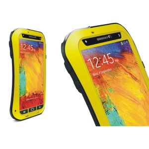 LOVE MEI for Samsung Galaxy Note 3 N9002 Powerful Small Waist Metal Gorilla Glass Waterproof Cover - Black / Yellow