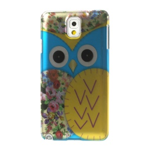 3D Effect Blue Owl & Roses Smooth Hard Case for Samsung Galaxy Note 3 N9005 N9002