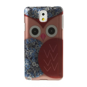 3D Effect Pink Owl & Blue Flowers Hard PC Shell for Samsung Galaxy Note 3 N9005 N9000