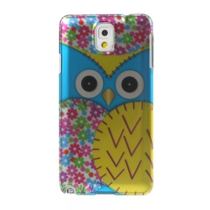 3D Effect Blue Owl & Colored Flowers Hard Cover for Samsung Galaxy Note 3 N9005 N9000