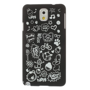 Cartoon Graffiti Matte Plastic Hard Case for Samsung Galaxy Note 3 N9005 N9002 N9000 - Black