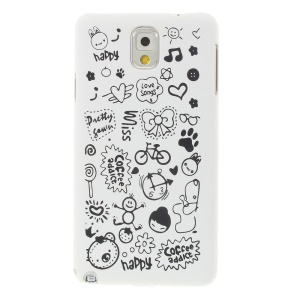 Cartoon Graffiti Matte Plastic Hard Cover for Samsung Galaxy Note 3 N9005 N9002 N9000 - White