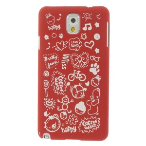 Cartoon Graffiti Matte Plastic Hard Shell for Samsung Galaxy Note 3 N9005 N9002 N9000 - Red