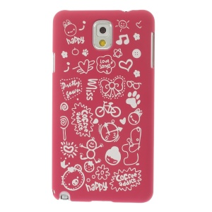 Cartoon Graffiti Matte Plastic Hard Shell Cover for Samsung Galaxy Note 3 N9005 N9002 N9000 - Rose