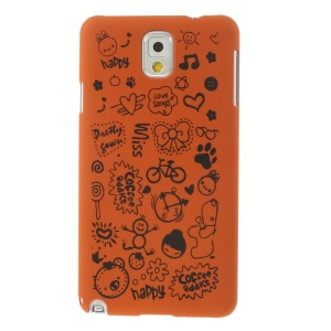 Cartoon Graffiti Matte Plastic Hard Case Shell for Samsung Galaxy Note 3 N9005 N9002 N9000 - Orange