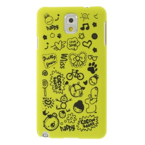 Cartoon Graffiti Matte Plastic Back Case Shell for Samsung Galaxy Note 3 N9005 N9002 N9000 - Green