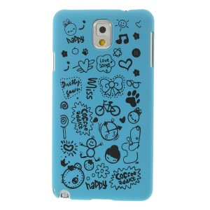 Cartoon Graffiti Matte Plastic Back Case Cover for Samsung Galaxy Note 3 N9005 N9002 N9000 - Light Blue
