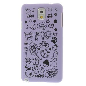 Cartoon Graffiti Matte Plastic Back Shell for Samsung Galaxy Note 3 N9005 N9002 N9000 - Purple