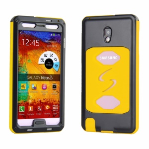 PEPKOO Dustproof Dropproof Shockproof Metal + Silicone Shell for Samsung Galaxy Note 3 N9005 - Black / Yellow