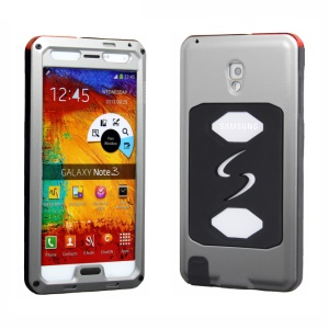 PEPKOO Dustproof Dropproof Shockproof Metal + Silicone Cover for Samsung Galaxy Note 3 N9005 - Grey / Black