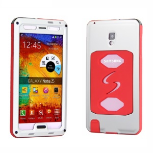 PEPKOO Dustproof Dropproof Shockproof Metal + Silicone Cover for Samsung Galaxy Note 3 N9005 - White / Red