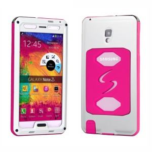 PEPKOO Dustproof Dropproof Shockproof Metal + Silicone Cover for Samsung Galaxy Note 3 N9005 - White / Rose