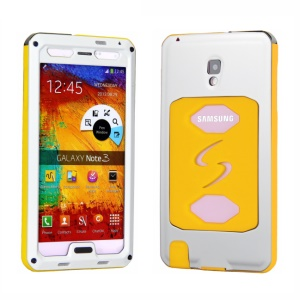 PEPKOO for Samsung Galaxy Note 3 N9005 Dustproof Dropproof Shockproof Metal + Silicon Cover - White / Yellow