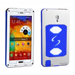 PEPKOO for Samsung Galaxy Note 3 N9005 Dustproof Dropproof Shockproof Metal + Silicon Case - White / Blue