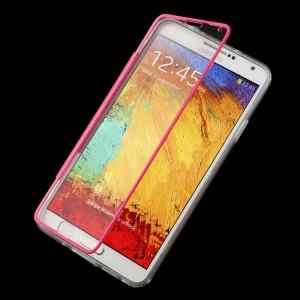 Folio Style Clear Acrylic + TPU Flip Cover for Samsung Galaxy Note 3 N9005 N9000 - Rose
