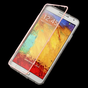 Folio Style Clear Acrylic + TPU Flip Shell for Samsung Galaxy Note 3 N9005 N9000 - Pink