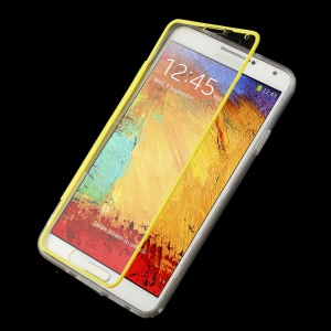 Folio Flip Clear Acrylic + TPU Protector Case for Samsung Galaxy Note 3 N9002 N9000 - Yellow