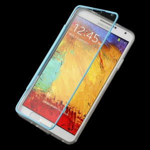 Folio Flip Clear Acrylic + TPU Protector Cover for Samsung Galaxy Note 3 N9000 N9005 - Blue