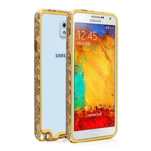 Auspicious Clouds Rhinestone Metal Frame Case for Samsung Galaxy Note 3 N9005 - Gold