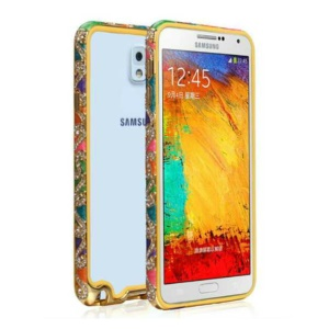 Auspicious Clouds Rhinestone Metal Frame Case Accessory for Samsung Galaxy Note 3 N9005 - Colorized
