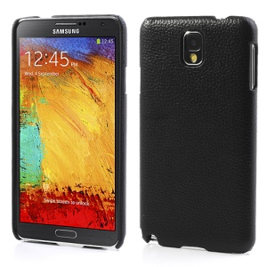 Lychee Grain Leather Coated Hard Plastic Case for Samsung Galaxy Note 3 N9005 N9002 N9000 - Black