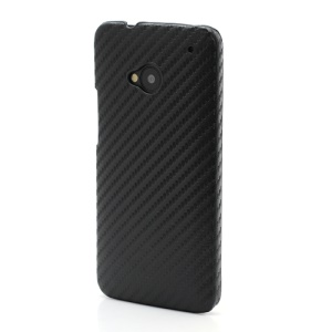 Carbon Fiber Leather Skin Hard Shell for HTC One M7 801e - Black