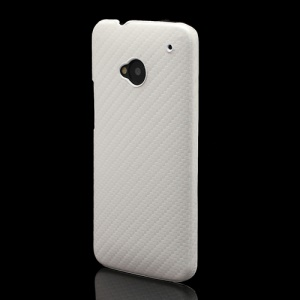 Carbon Fiber Leather Skin Hard Shell for HTC One M7 801e - White