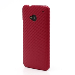 Carbon Fiber Leather Skin Hard Shell for HTC One M7 801e - Red